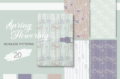 Spring Flowering - Seamless Patterns