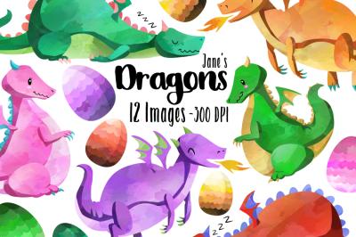 Watercolor Dragons Clipart