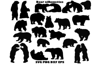 Bear Silhouette SVG PNG DXF EPS