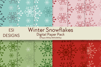 Winter Snowflakes Digital Paper Pack - JPEG - 300dpi