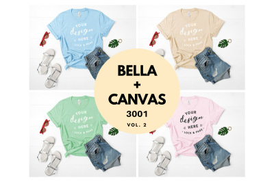 Bella Canvas 3001 T Shirt Mockup Flat Lay Bundle Vol. 2