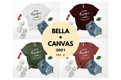 Bella Canvas 3001 T Shirt Mockup Flat Lay Bundle Vol. 6