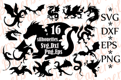 Dragon Silhouette Svg, DRAGON CLIPART,Dragon Bundle Svg,Dragon Cut F