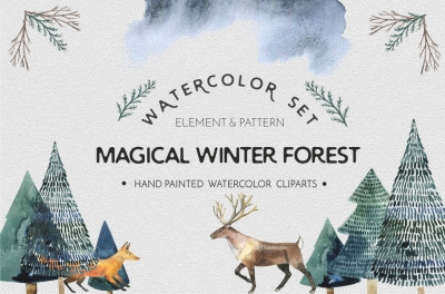 Magical winter forest - watercolor set