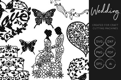 Wedding SVG Bundle - Hand Lettering - Detailed Florals SVG