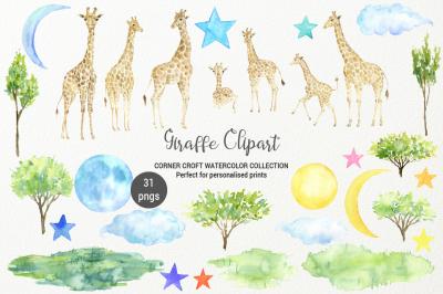 Giraffe clipart, watercolor giraffe family