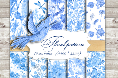 Blue flower patterns