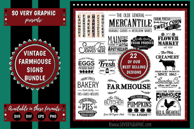 22 Vintage Farmhouse Sign Bundle Cutting Files | SVG | EPS | DXF | PNG