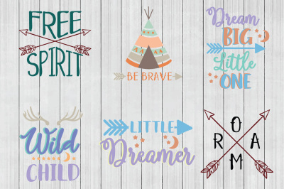 Boho SVG Bundle, Wild Child SVG, Dream SVG, DXF File, Cuttable File