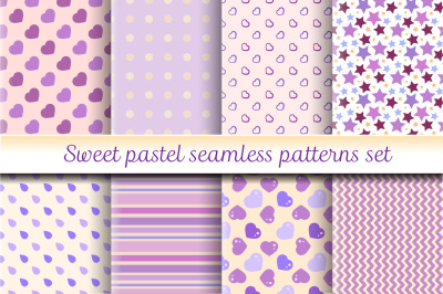 Sweet pastel seamless patterns set