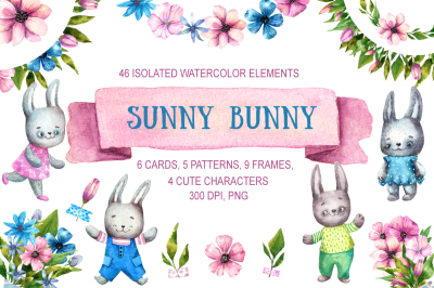 Sunny Bunny - Watercolor Clip Art Set