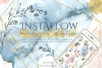 Instaflow Watercolors & Across the Grid Template