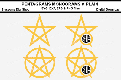 Pentagram Plain & Monogram SVG, EPS, DXF and PNG cut files