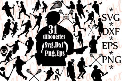 Lacrosse Silhouettes Svg,Lacrosse clipart, Lacrosse Svg