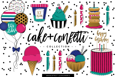 Cake+Confetti Clipart Illustrations & Seamless Paper Patterns Bundle