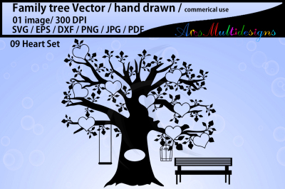 family tree clipart SVG, EPS, Dxf, Png, Pdf /family tree silhouette