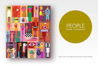 Group of people flat style vector illustration