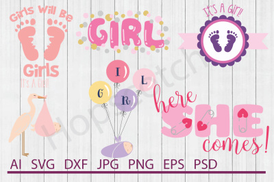 Baby Girl Bundle, SVG Files, DXF Files, Cuttable Files