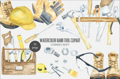 Watercolor Hand Tool Clipart