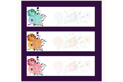 Abstract header or banner set with watercolor floral arrangement