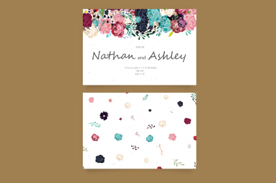 Watercolor Floral Decor Wedding Invitation - vector set