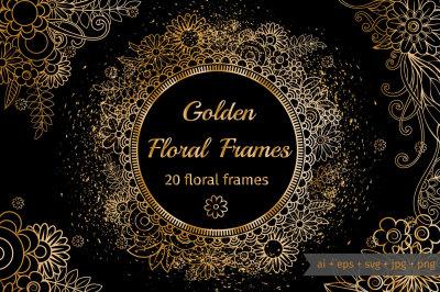 Golden Floral Frames