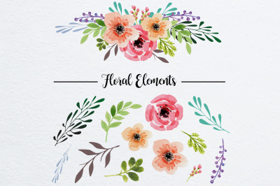 Watercolor Floral Elements for decoration