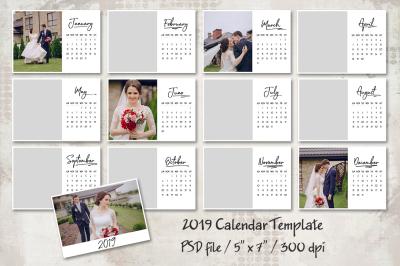 2019 Calendar Template 5x7