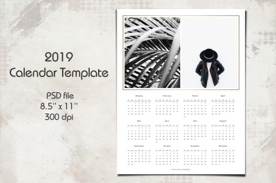 2019 Calendar Template, 8.5 x 11