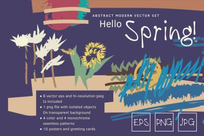 Abstract drawing vector spring set