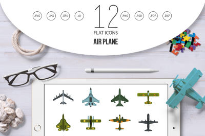 Air plane icon set, flat style