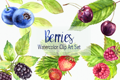 Watercolor Berries Clip Art Set