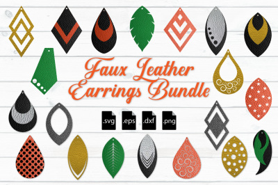 Faux Leather Earrings Bundle: SVG, EPS, DXF, PNG