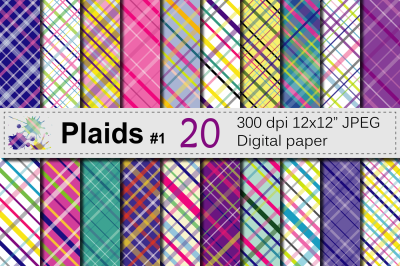 Colorful Bright Plaid Digital Paper Pack / Plaid backgrounds