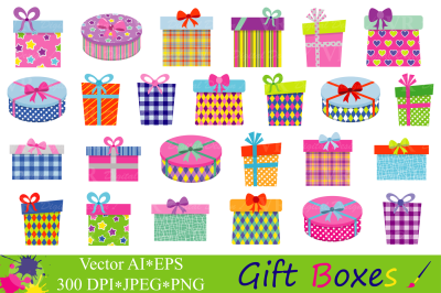 Gift Boxes Clipart / Presents Clip art / Gifts vector