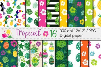 Tropical digital paper / Tropical seamless patterns