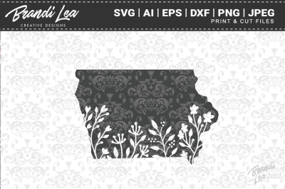 Iowa Floral State Map SVG Cutting Files