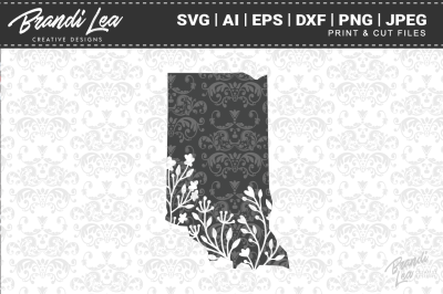 Indiana Floral State Map SVG Cutting Files