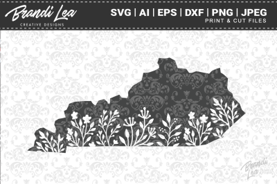 Kentucky Floral State Map SVG Cutting Files