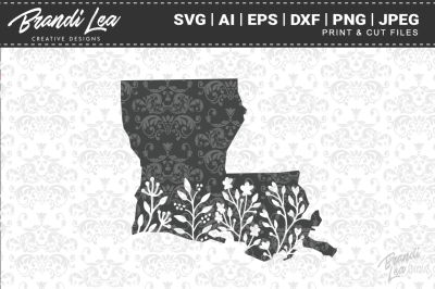Louisiana Floral State Map SVG Cutting Files