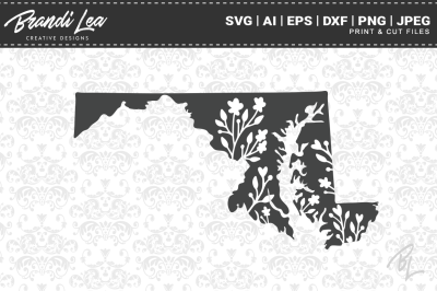 Maryland Floral State Map SVG Cutting Files