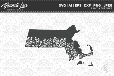 Massachusetts Floral State Map SVG Cutting Files
