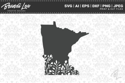 Minnesota Floral State Map SVG Cutting Files