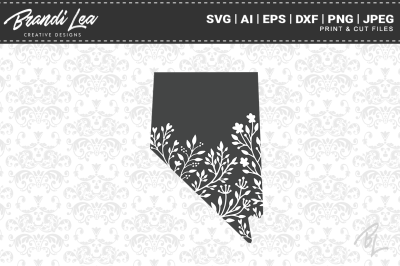 Nevada Floral State Map SVG Cutting Files