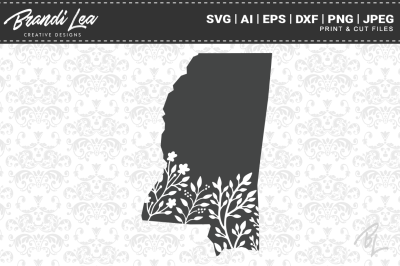 Mississippi Floral State Map SVG Cutting Files