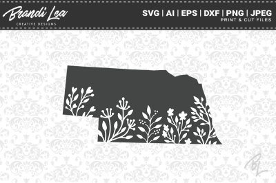 Nebraska Floral State Map SVG Cutting Files