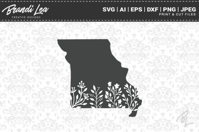 Missouri Floral State Map SVG Cutting Files