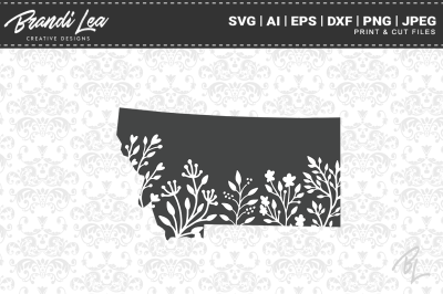 Montana Floral State Map SVG Cutting Files