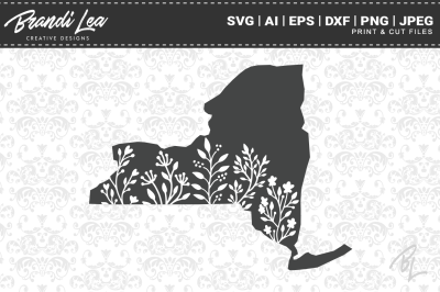 New York Floral State Map SVG Cutting Files
