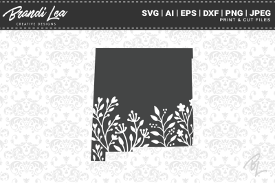 New Mexico Floral State Map SVG Cutting Files